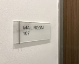 1401 Lawrence glass ADA mail room sign