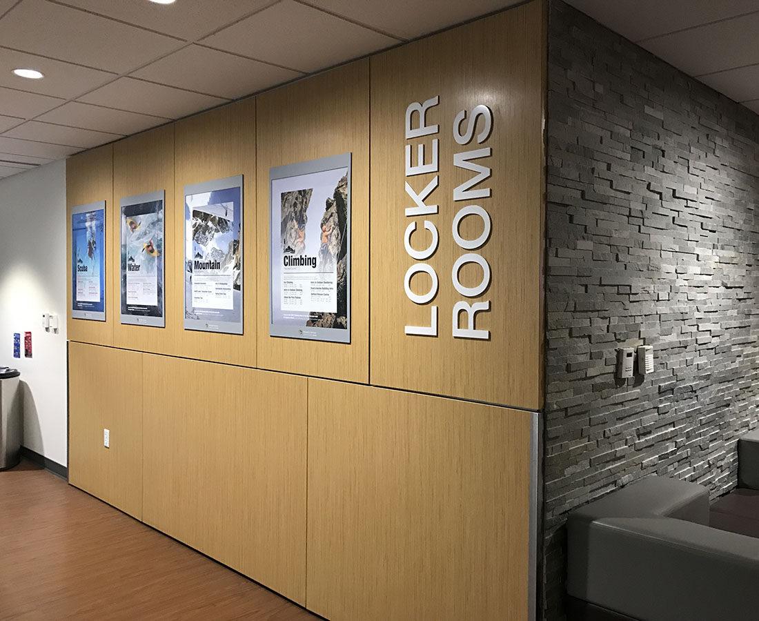CU Boulder Rec Center locker room signage and frames