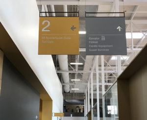 CU Boulder Rec Center hanging directionals
