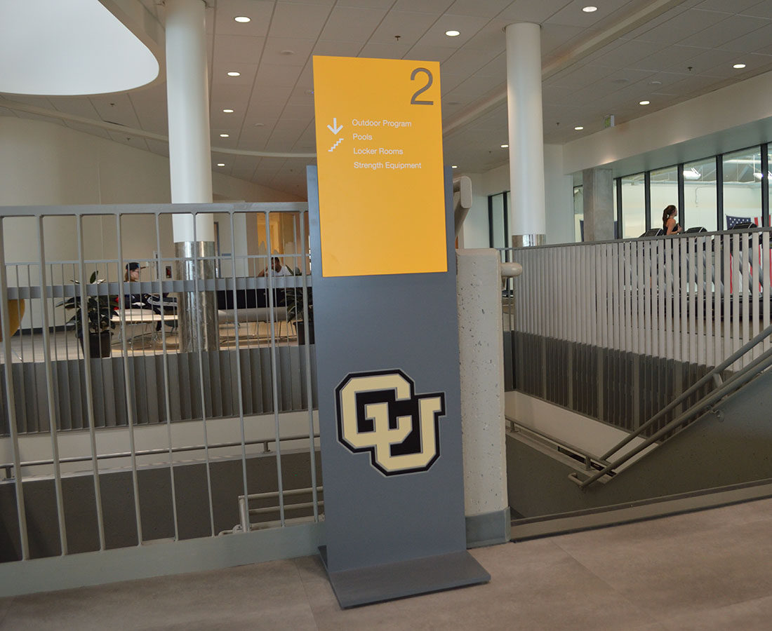 CU Boulder Rec Center standing directional