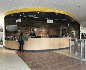 CU Boulder Rec Center entrance check in wall