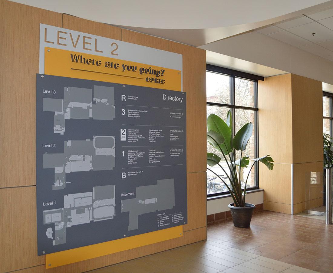 CU Boulder Rec Center wall map level 2