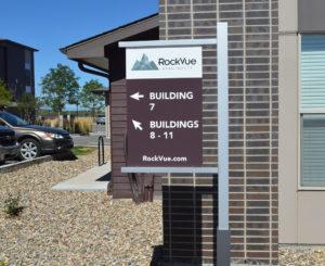 Rockvue Apartments directional exterior sign