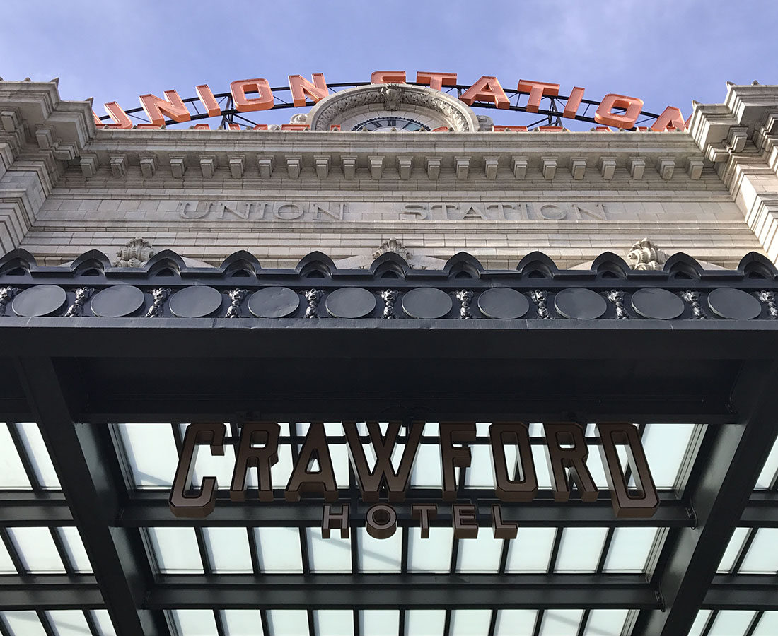 the Crawford Hotel exterior signage