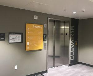 CU Boulder Rec Center elevator sign graphic