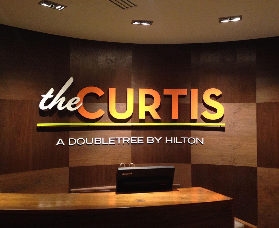 the Curtis Hotel main lobby sign