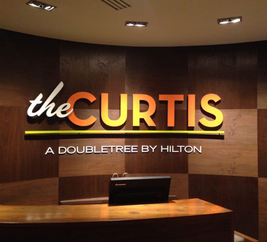 the Curtis Hotel main lobby sign