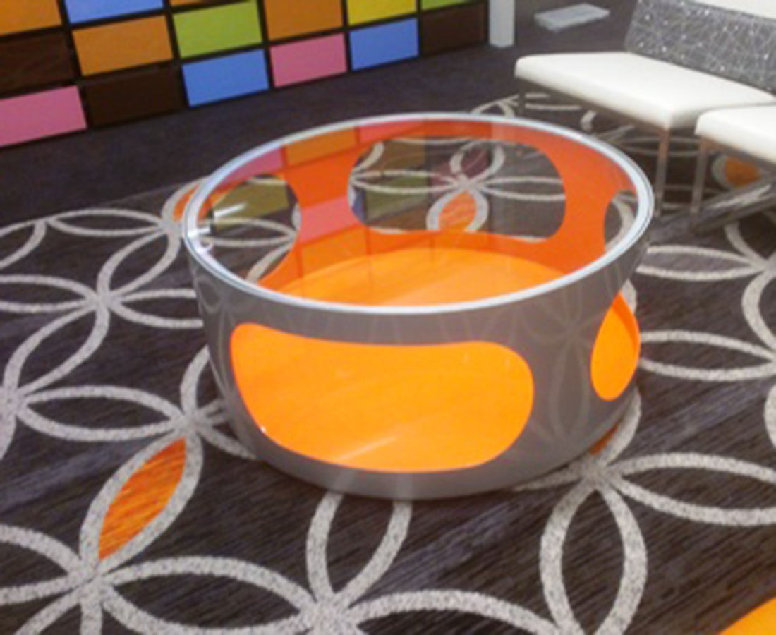 the Curtis Hotel custom fabricated table close up photo