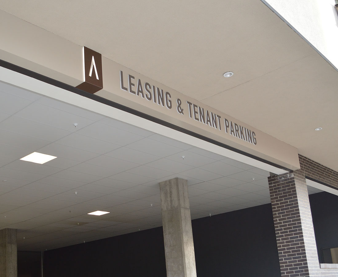 Decatur Point leasing and garage entry signage