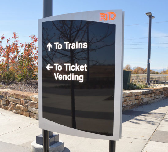 RTD Pena Station directional to trains and to ticket vending