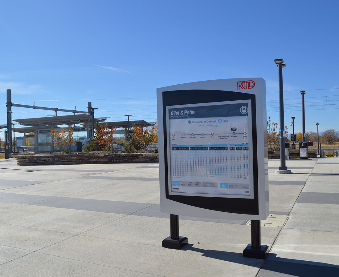 RTD Pena Station schedule monument sign