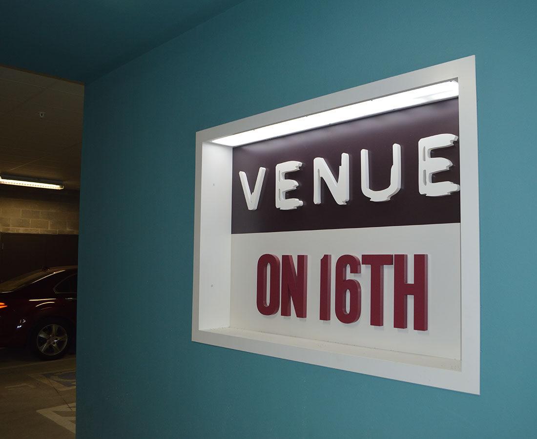 Venue on 16th garage sign