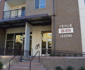 Venue on 16th exterior leasing sign