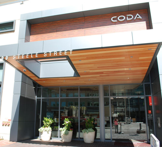 Coda Apartments entrance signage