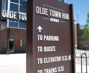 Old Town Arvada RTD station directional sign