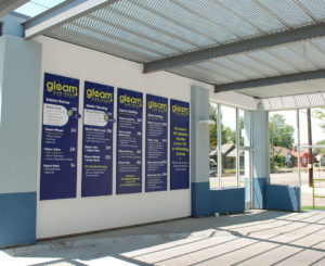 Gleam Car Wash information panels