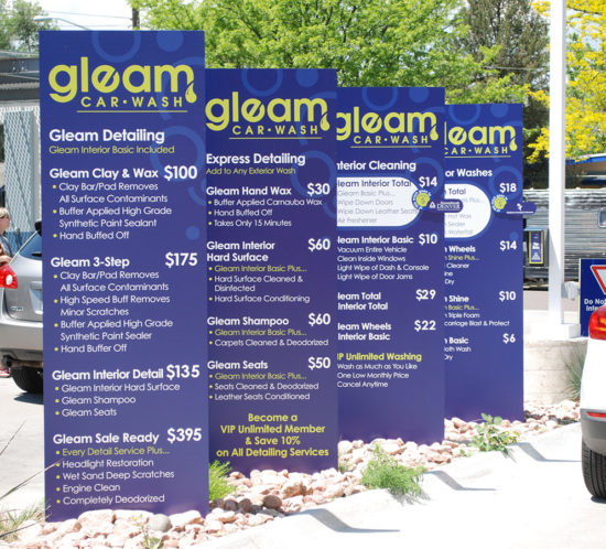 Gleam Car Wash information panels