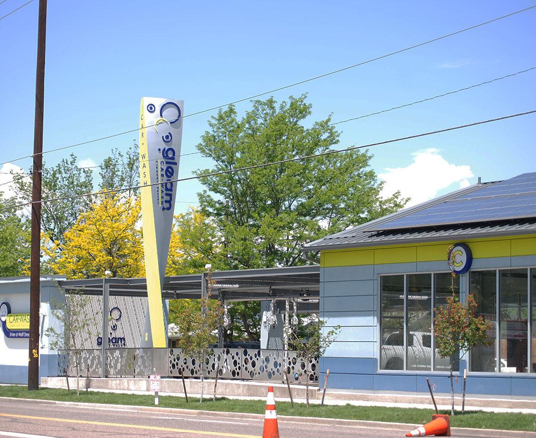Gleam Car Wash pylon sign
