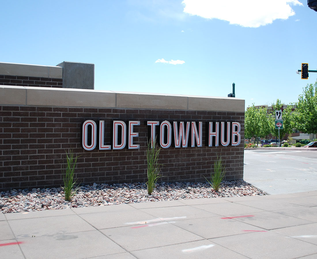 Old Town Arvada RTD station hub letters