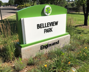 City of Englewood Bellview small monument close up