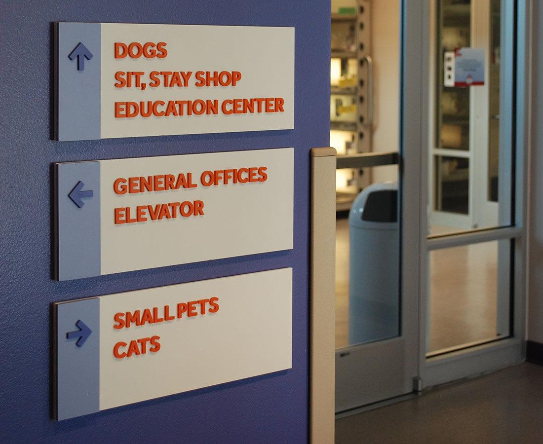 Denver Dumb Friends League wayfinding signage