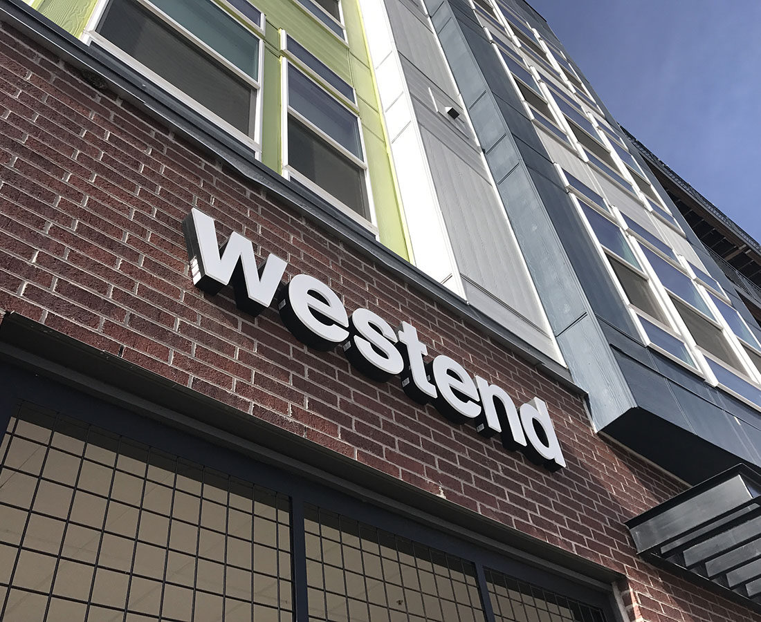 Westend Apartments illuminated letters