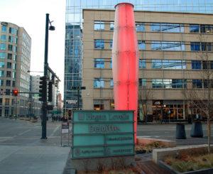 1601 Wewatta glass monument and lantern