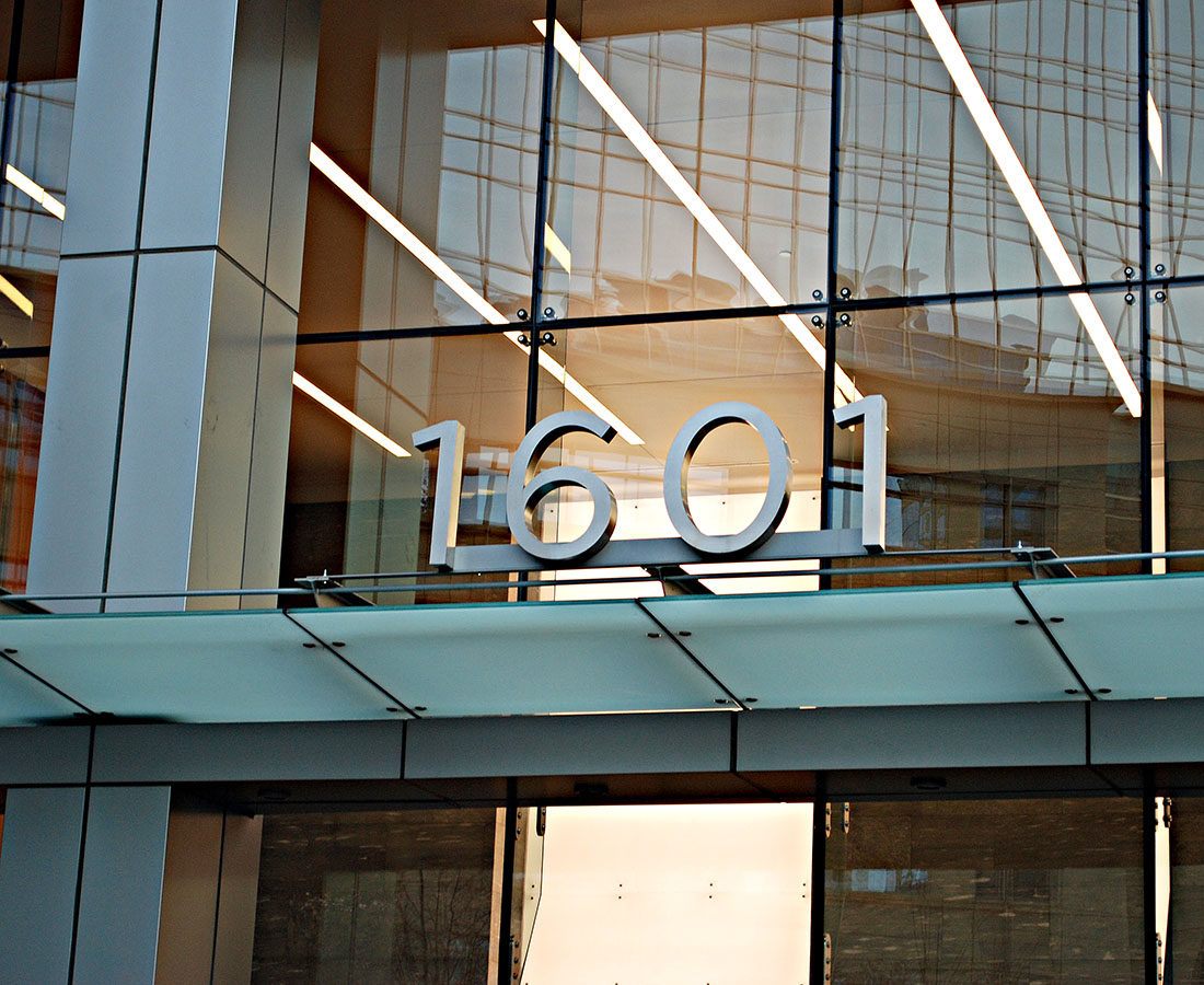 1601 Wewatta address sign