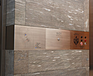 1601 Wewatta stainless steel elevator panel