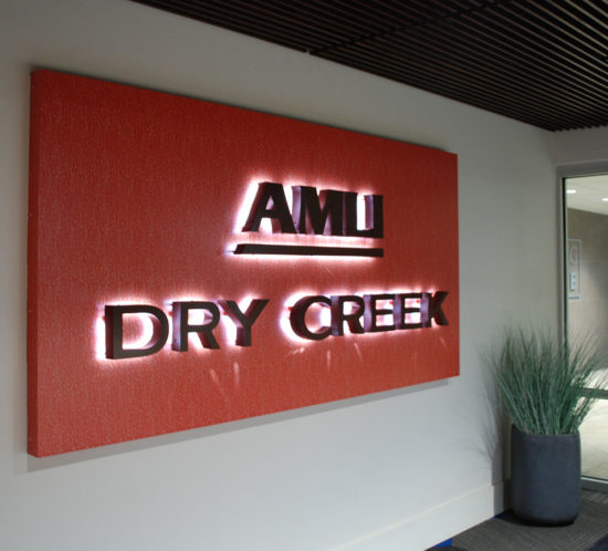 AMLI Dry Creek illuminated Entry sign