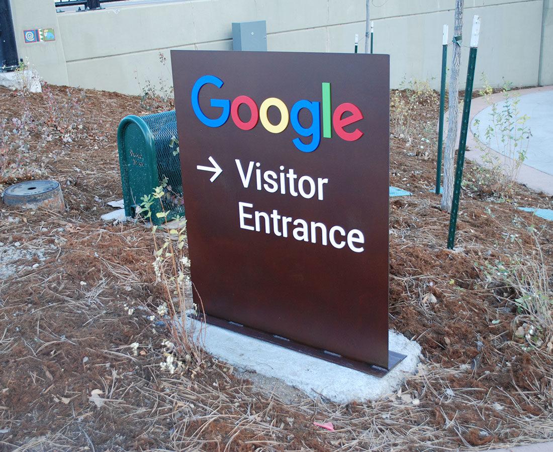 Google Boulder directional monument