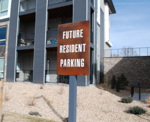 Future Resident Parking sign at Solana Olde Town Station