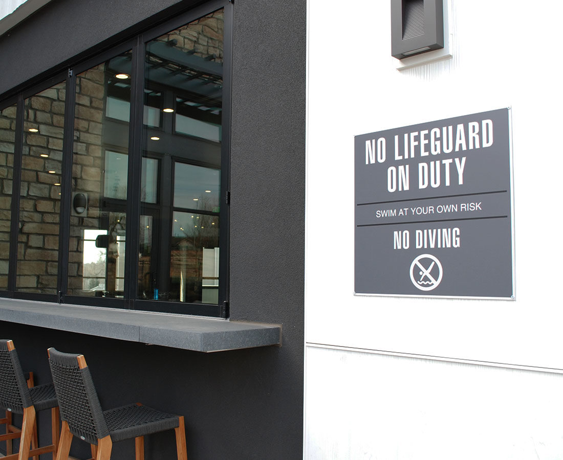 Exterior No Lifeguard on Duty sign at Solana Olde Town Station
