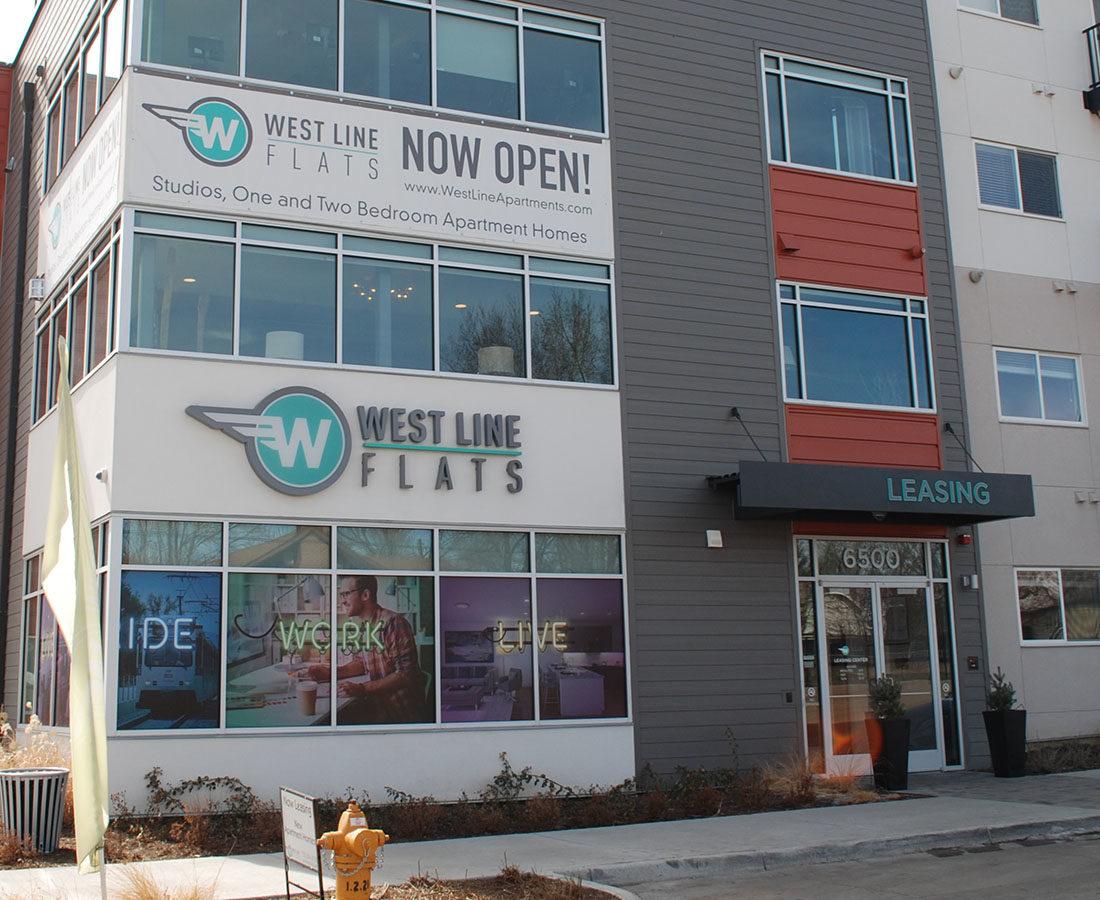 Westline Flats entrance channel letters