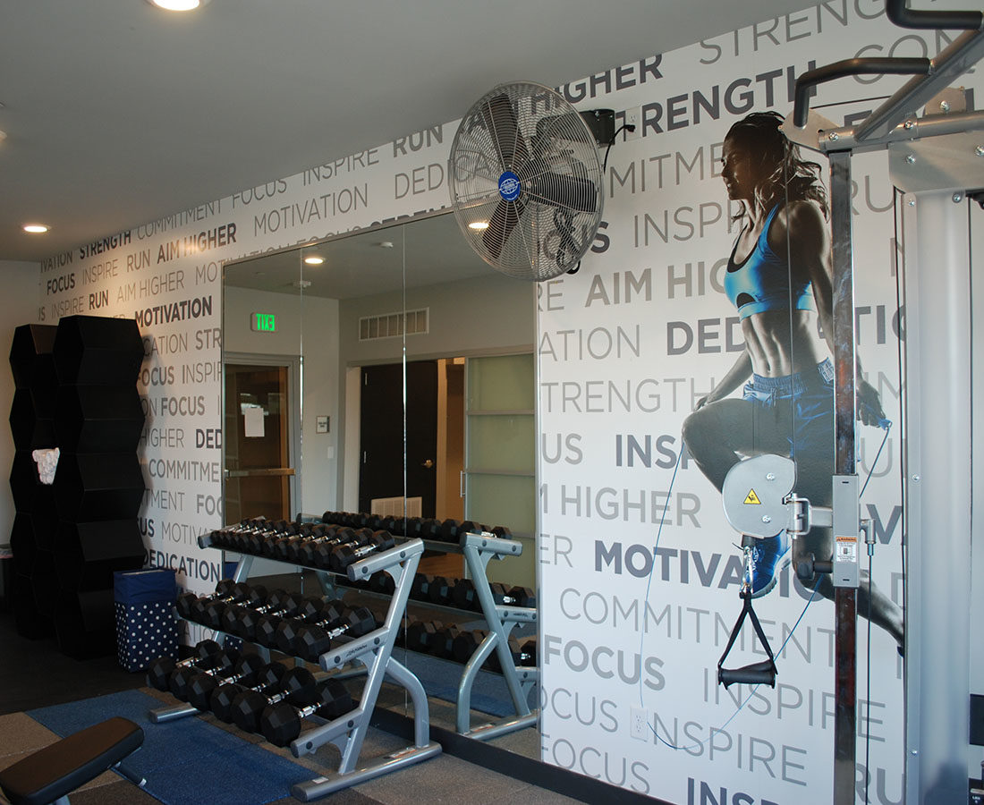 Westline Flats interior fitness graphic