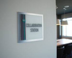Westline Flats interior Glass Room ID sign