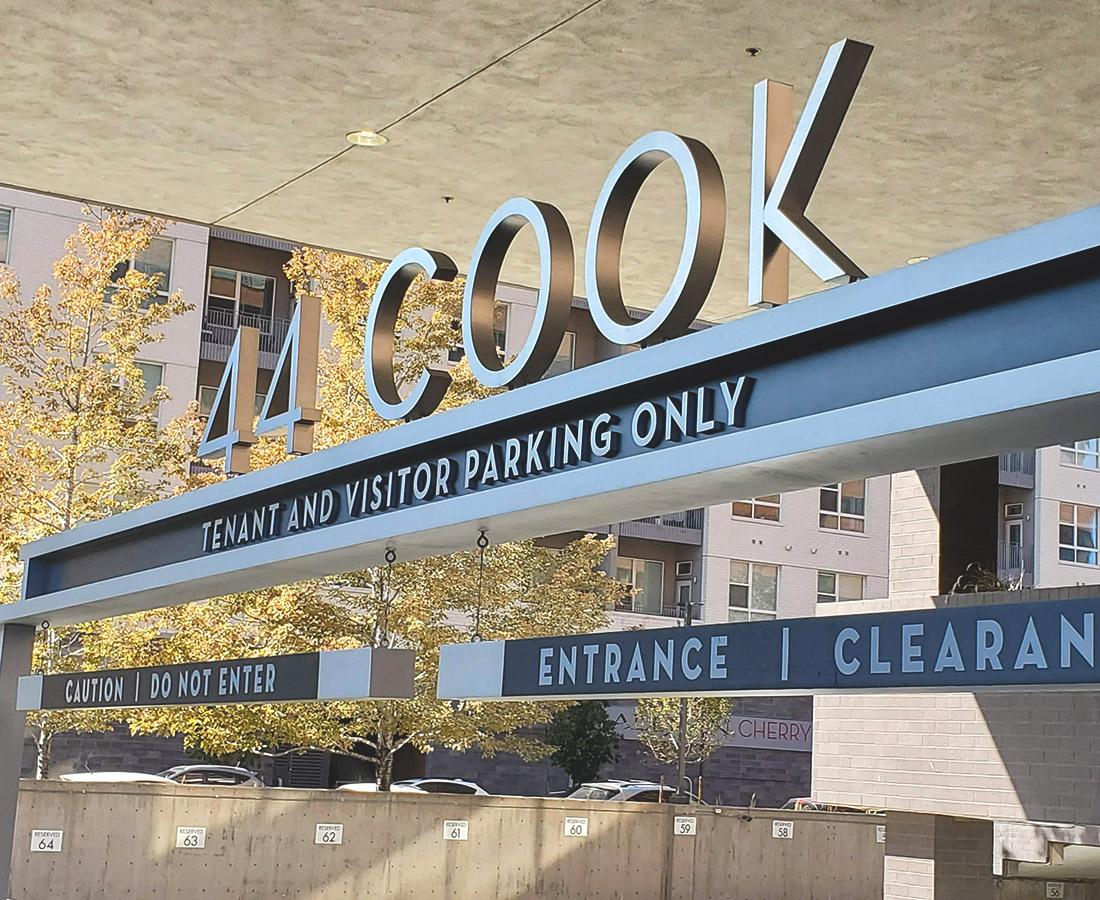 44 cook garage sign close up