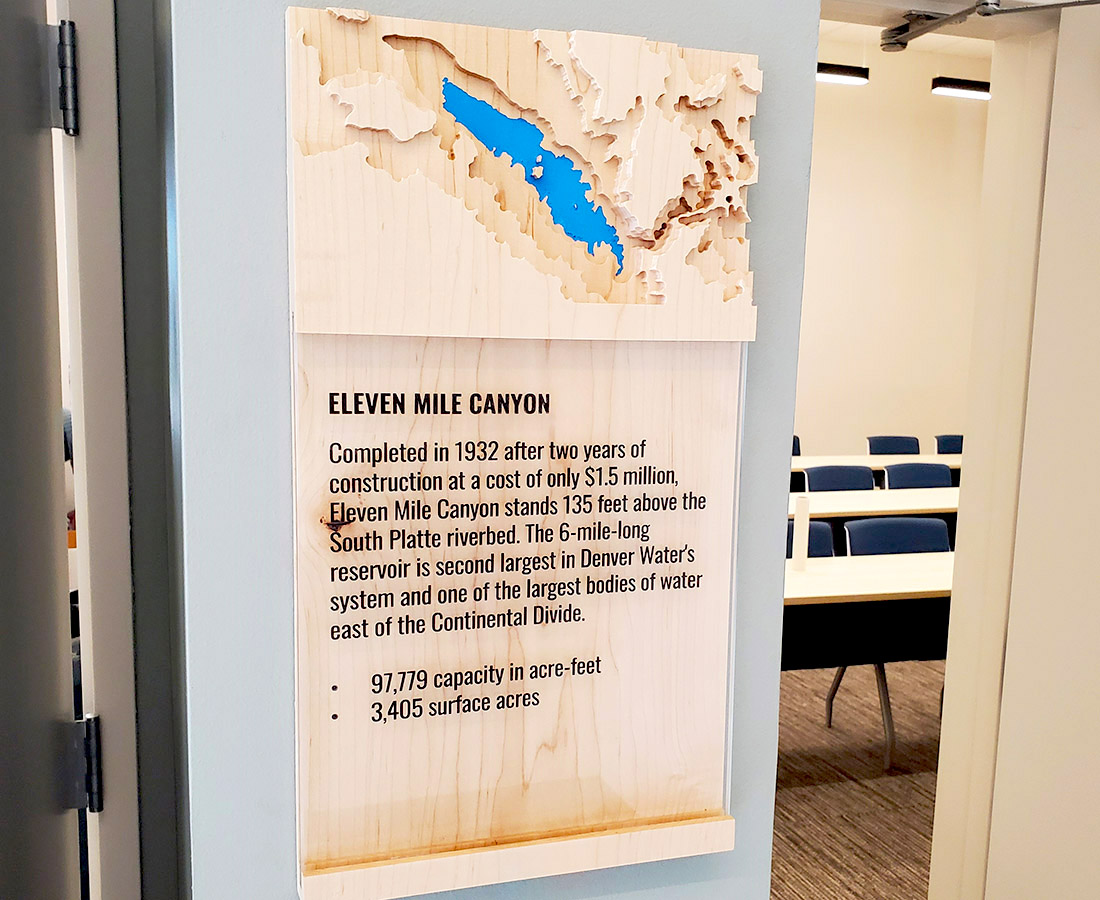 Custom wood Eleven Mile Canyon sign at Denver Water