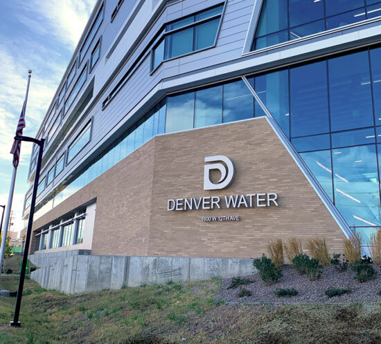 Exterior address sign at Denver Water