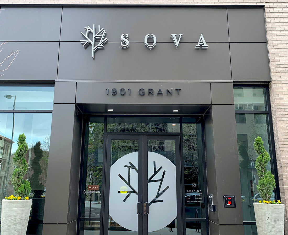 Sova on Grant exterior lettersets and vinyl