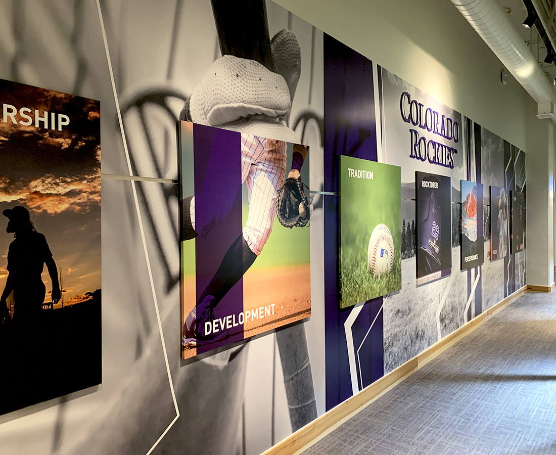 Baseball wall graphics at the Colorado Rockies Clubhouse at Coors Field
