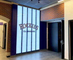 Illuminated pinstripe wall graphic at the Colorado Rockies Clubhouse at Coors Field