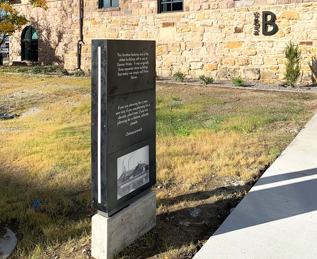 Building B monument exterior sign at Denver Water
