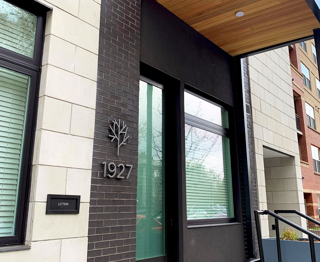 Sova on Grant exterior unit ID for street level unit
