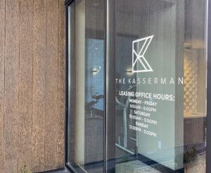 The Kasserman leasing entrance vinyl