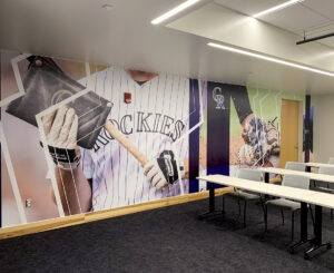 Wall graphics at the Colorado Rockies Clubhouse at Coors Field