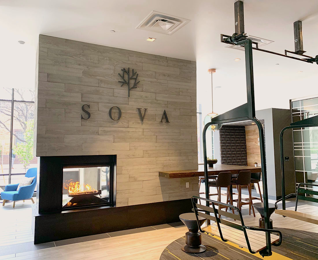 Sova on Grant leasing lobby letterset and chairlift deco