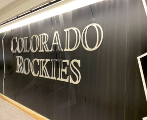 Steel wall with letterset at the Colorado Rockies Clubhouse at Coors Field