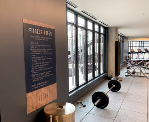 The Henry interior fitness center rules sign