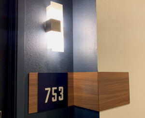 The Henry unit ID blue and wood